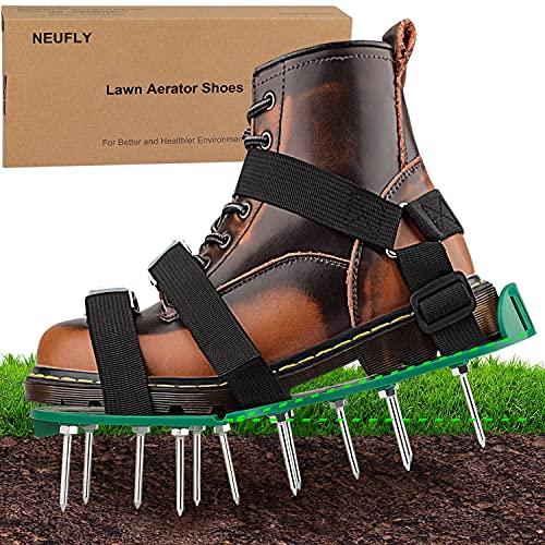 NEUFLY Rasenbelüfter Schuhe, Neueste Faltbar Ergonomie Rasenlüfter Vertikutierer Universelle Größe Hochleistungs-Spike Rasenbelüfter Nagelschuhe für Rasen Garten - Grün