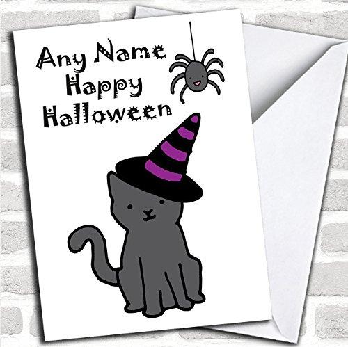 Heks Kat op maat Halloween Groeten Kaart- Halloween Kaarten
