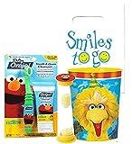 Sesame Street Elmo & Friends Toddler Training Oral Hygiene Bundle! Manual Toothbrush, Fluoride Free Toothpaste, Brushing Timer & Mouthwash Rinse Cup!Plus Dental Gift & Remember to Brush Visual Aid!