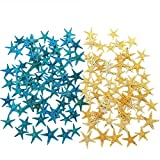 TIHOOD 180PCS Blue and Yellow Small Starfish Star Sea Shell Beach Craft 0.4
