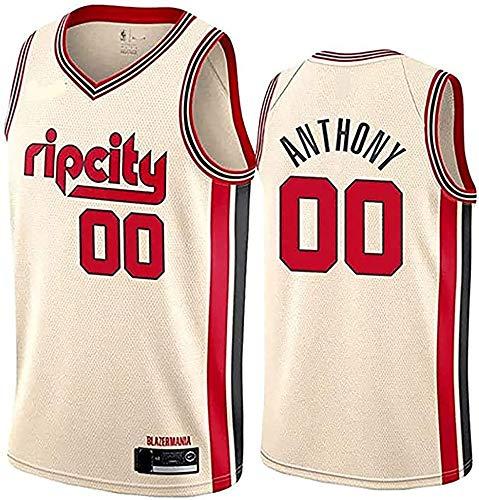 SSLONG Camiseta de Baloncesto para Hombre Sendero Blazers Anthony 00# Jersey Carmelo Youth Icon Edition Jersey Sport Sport Top Yellow-L