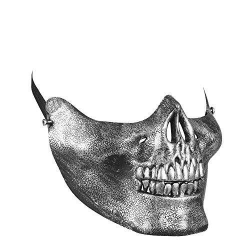 Widmann 00855 Halbmaske Totenkopf, Silber, One Size