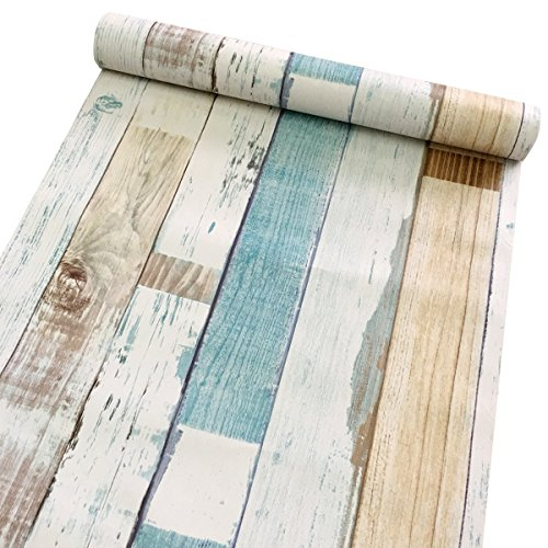 Yifely Colorful Wood Grain Furniture Paper Decorative Shelf Drawer Liner Self-Adhesive Door Sticker 17.7 Inch by 9.8 Feet