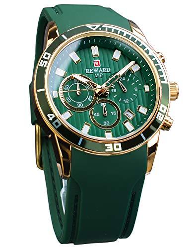 REWARD Reloj de pulsera analógico luminoso para hombre, color verde, cuarzo, correa de goma, diseño de negocios