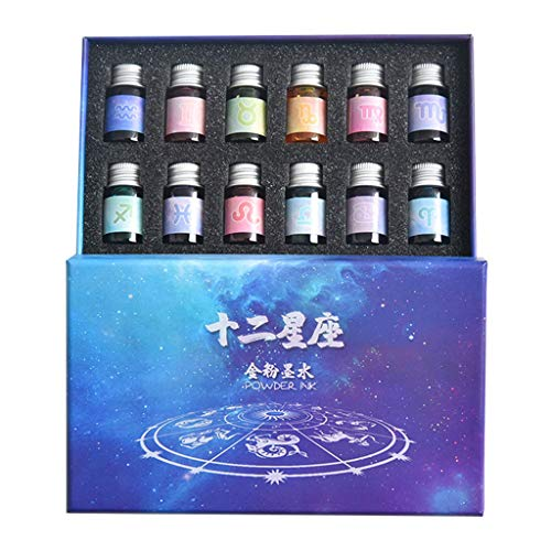 Junlinto,12 Constellation ink Goud Poeder Glas dip pen Student Writing Signature Filling
