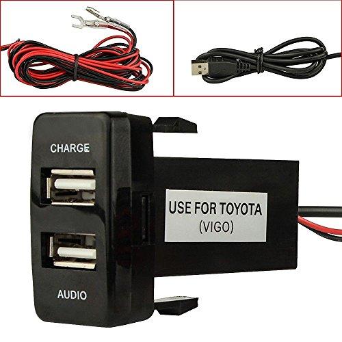 Cargador de coche USB de doble puerto con enchufe de audio y