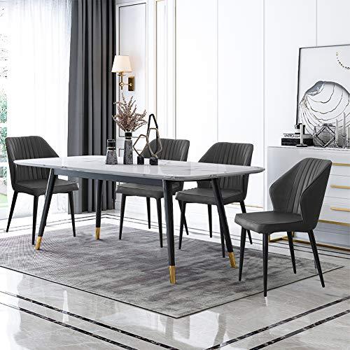 TUKAILAI - Set di 4 sedie da sala da pranzo in ecopelle grigia, sedie da cucina per il soggiorno, il tempo libero, sedie ad angolo, in similpelle, con