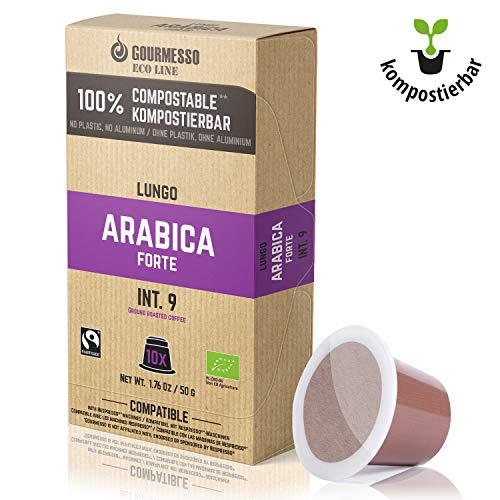 Gourmesso Eco Line Lungo Arabica Forte - 100% kompostierbare* und nachhaltige Kaffeekapseln | ohne Alu und Plastik – 30 Nespresso kompatible Kaffeekapseln – Bio und Fairtrade