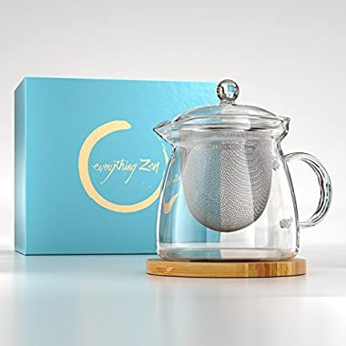 The Perfect Teapot - Premium Glass Teapot with Infuser - Stainless Steel Removable Strainer - Engraved Bamboo Tea Pot Coaster - for Loose Leaf & Blooming Teas - Microwave Safe - in Beautiful Gift Box