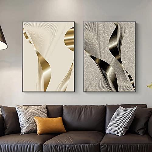Creativo plata dorado abstracto geométrico patchwork decoración moderna imagen lienzo pared arte cartel para habitación oficina hotel decoración 40x60cm (16x24in) x2 sin marco