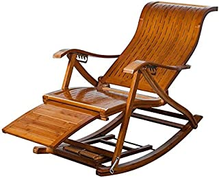 Folding Chaise Longue Patio Bamboo Lounge Chairs Recliner Garden Sunbathing, 6 Position Adjustable Rocking Chair with Foot...