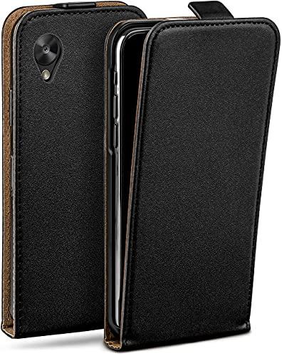 moex Flip Hülle für LG Google Nexus 5 - Hülle klappbar, 360 Grad Klapphülle aus Vegan Leder, Handytasche mit vertikaler Klappe, magnetisch - Schwarz
