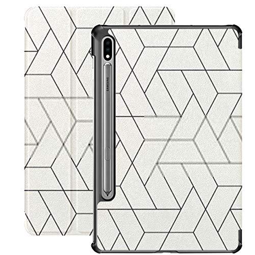 Funda Galaxy Tablet S7 Plus de 12,4 Pulgadas 2020 con Soporte para bolígrafo S, patrón Transparente de Vector Funda Protectora Tipo Folio con Soporte Delgado y Textura Moderna para Samsung