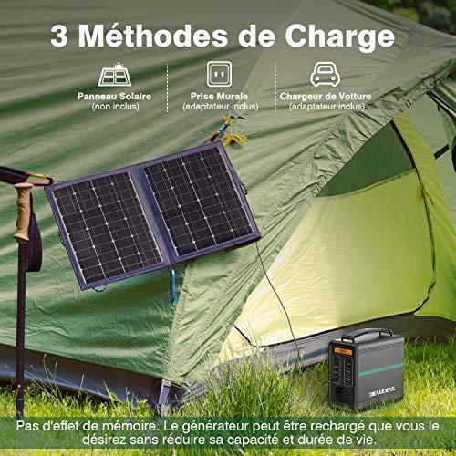 BEAUDENS Générateur d'Énergie Solaire Portable 166Wh, Batterie LiFePO4 Durée de Vie 10 Ans à 2000 Cycles, Groupe Électrogène de Secours avec Sorties AC 230V, DC 12V et USB QC 3.0 pour Camping Voyage