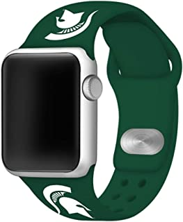 AFFINITY BANDS Michigan State Spartans Green Silicone Watch Band Compatible with Apple Watch (38/40mm Green) - Licensed NCAA Watch Band