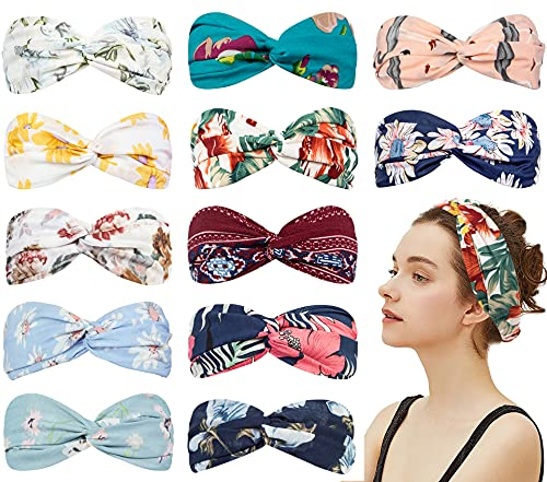 12 Pack Knotted Boho Headbands for Women Floral Style Criss Cross Head Wrap Spa Yoga Elastic Fabric Headbands for Women Vintage Hair Accessories(Boho Style)