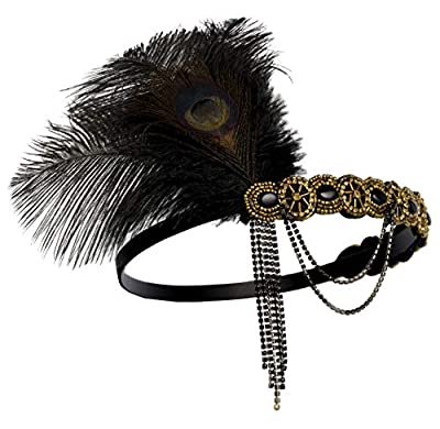 Zivyes 1920s Flapper Headband Roaring 20s Accessories Wedding Headpiece Hair Accessories