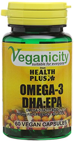 Veganicity Omega-3 DHA:EPA 500mg - Algal Oil Vegan Omega-3 Fatty Acid : Heart and Brain Health Supplement : 60 Vcaps