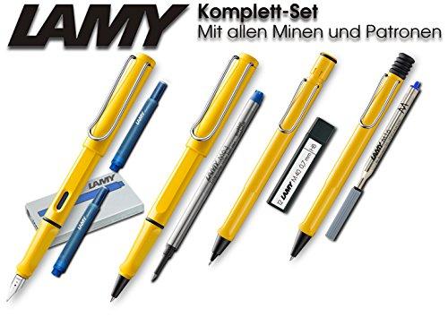 Lamy Safari Set [Füller + Kugelschreiber + Tintenroller + Bleistift] (inkl. Ersatzminen + Patronen, Gelb - Yellow)