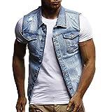 Loeay Giacca di Jeans Senza Maniche Slim Fit da Uomo Moda Estiva Gilet di Jeans Classico Collo con Risvolto Nero Jeans Gilet Capispalla Cappotto Blu L