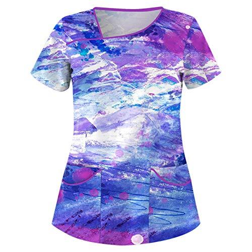 Briskorry Kasack - Camiseta de cuidado para mujer, tallas grandes con estampado, manga corta, cuello en V, con bolsillos, camisa de trabajo, morado, M