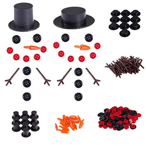 20 Sets Buttons for Snowman Crafts DIY- 20pcs Carrot Noses Buttons 20pcs Mini Black Top Hats Plastic Magician Hats with 120pcs Tiny Buttons& Hands for Christmas Crafting Sewing Party Supplies