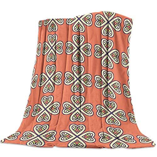 Moily Fayshow Manta Polar Lanza Manta Patrón Retro para sofá Sofá Decorativo Todas Las Estaciones Mantas Ligeras y cálidas 60 'x50'