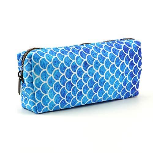 LParkin Mermaid Scales Large Capacity Canvas Pencil Case Pen Bag Pouch Stationary Case Makeup Cosmetic Bag Gadget Box