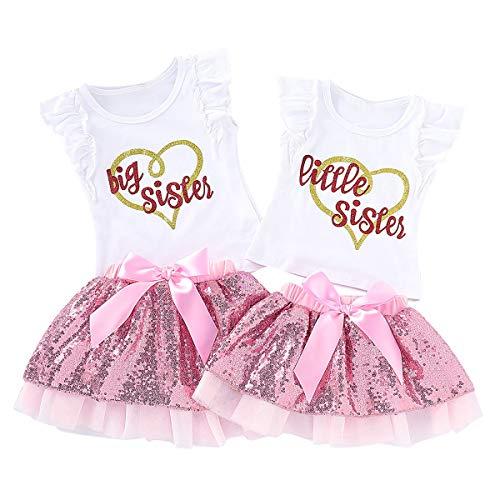 Baby Girls Little Big Sister Conjuntos a Juego Camisa de Manga con Volantes Tops Conjunto de Falda de tutú de Lentejuelas (Little Sister-0-3 Meses, White+Pink)