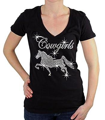 Interstate Apparel Inc Rhinestone Cowgirls Horse V-Neck T-Shirt Juniors S-3XL Black