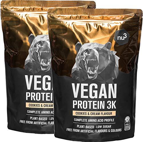 nu3 - Proteína vegana 3K - 2kg de fórmula - 70% de proteína a base de 3 componentes vegetales - Proteínas para el crecimiento de la masa muscular con delicioso sabor cookies & cream