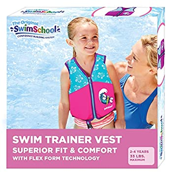 SwimSchool New & Improved Swim Trainer Vest Flex-Form Design Padded Shoulders and Adjustable Safety Strap Easy On & Off Small/Medium Up to 33 Lbs Pink/Aqua
