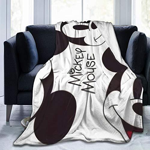 VOROY Dis-Ne-Y Mic-Key Mouse Manta de forro polar de franela suave y esponjosa, cálida y ligera, para sofá de cama, aire acondicionado, manta para sala de estar de 132 x 102 cm