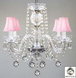 MURANO VENETIAN STYLE ALL CRYSTAL CHANDELIER W/CRYSTAL BALLS AND PINK SHADES!