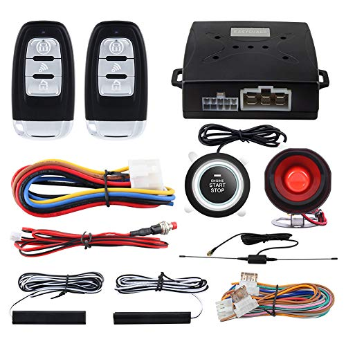 EASYGUARD EC003 Smart Key PKE Passive Keyless Entry Car Alarm System Push Start Button Remote Engine Start Remote Trunk Release DC12V