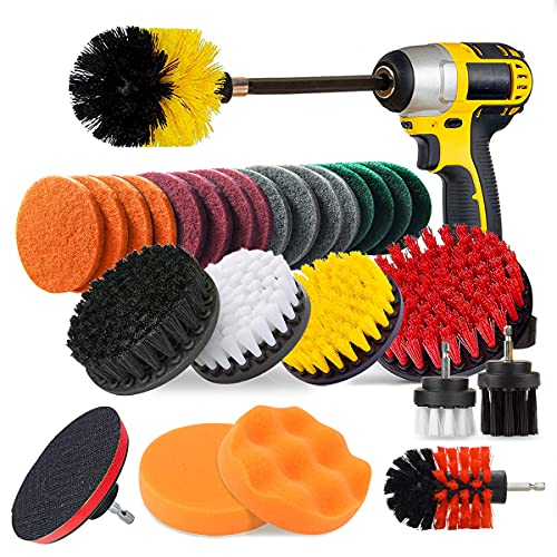 drill brush attachments JUSONEY 28 Piece Drill Brush Attachment- Drifferent Size and Hardness- Premium Scrub Pads & Sponge- With Extend Long Attachment- Power Scrubber Brush Cleaning for Grout, Tiles, Sinks, Bathtub, Kitchen