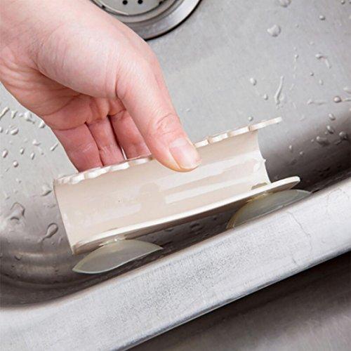 sunshineBoby Geschirrtücher Rack Saug Schwamm Halter Clip Lappen Lagerregal,Bad und Küche Speicherung Rack (Beige, 11X3.7X6.5cm)