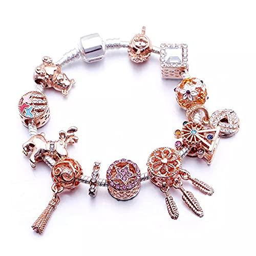 WLLLTY Ladies Bracelet New Rose Gold DIY Bracelet Women's Beaded Elk Tassel Charm Mix Bracelet Gift