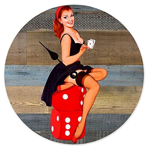 Toll2452 Reloj de marea Pin Up Chica Vintage Hombre Cueva Decoración Playa Marea Reloj de pared de madera 30,5 cm Reloj de pared redondo