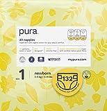 Pura - Pannolini premium per bambini, taglia 1 (Neonati, 2-6 kg), 6 confezioni da 22 pannolini (132 pannolini), fibre vegetali naturali certificate FSC, rispettoso dell'ambiente