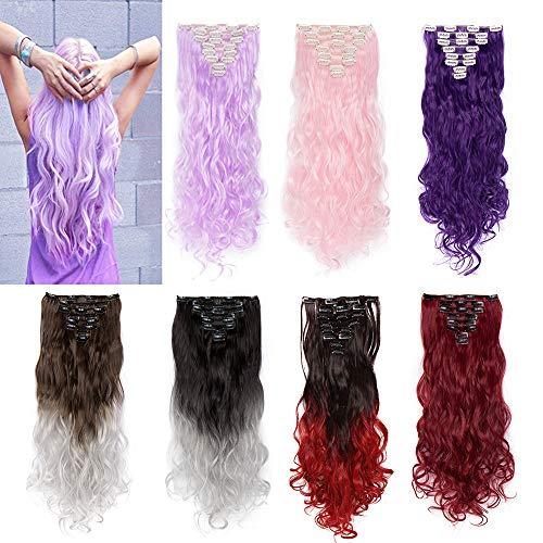 "Silk-co 8 Bandes Extension A Clip Cheveux Synthétique Full Head Clip In Hair Extension Faux Cheveux Ondulé, 24"", Violet Clair"