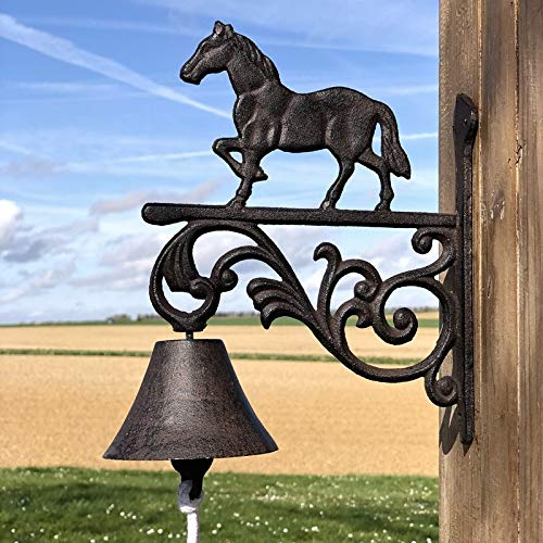 chemin_de_campagne Cloche de Portail Carillon de Porte Cheval Jardin Fonte 27.50 cm x 22 cm x 10 cm