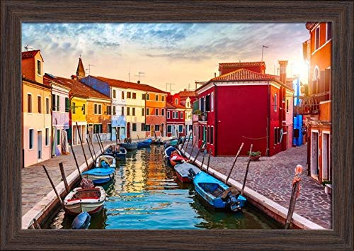 Burano Island, Venice, Italy - Canal & Colorful Homes at Sunset A-9008353 (18x12 Giclee Art Print, Gallery Framed, Espresso Wood)