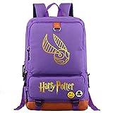 NYLY Mochila de Harry P, Mochila de Hogwarts College Potter, Bolsa de Estudiante de Moda Informal de Snitch Dorada M Púrpura