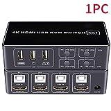 4ポートHDMI KVMスイッチ、Ultra HD-オーディオ出力およびUSB共有安定-マウスキーボードハブ用の4x1 Kvmスイッチ