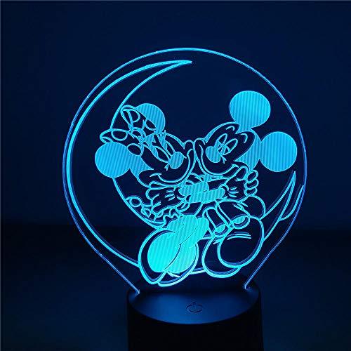 HGVFR Luz De Noche Led 3D Lámpara De Ilusión Disney Mickey Y Minnie Mouse Led Luz De Noche Decoración De Dormitorio Juguete De Regalo De Navidad Para Niños / Pr179Ss