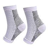 Chaussettes de compression des pieds pour hommes femmes fasciite plantaire talon éperons douleur chaussette en coton décontractée chaussette veineuse ML blanc
