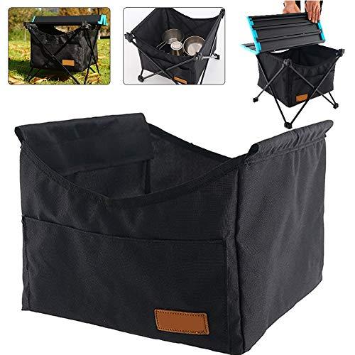 Gcroet Tragbare Klappbare Picknicktisch Tasche Oxford Stoff Aufbewahrungsnetz Tasche Hängen Klapptisch Aufbewahrungstasche für Picknick Camping im Freien (Schwarz-S)