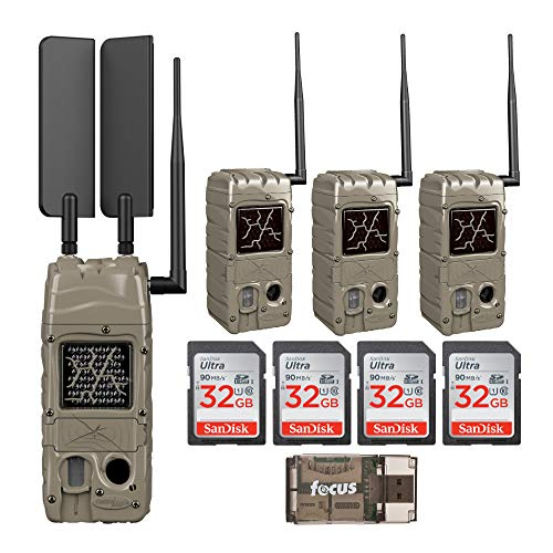 Cuddeback CuddeLink Cell Trail Camera (Verizon), Powerhouse Black Flash Medium Bundle (9 Items)