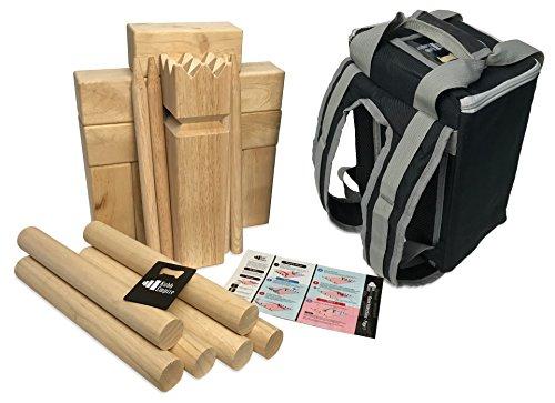 Kubb Empire Premium Size Hardwood Kubb Yard Game Set with Backpack, Instruction Card, and Bottle Opener